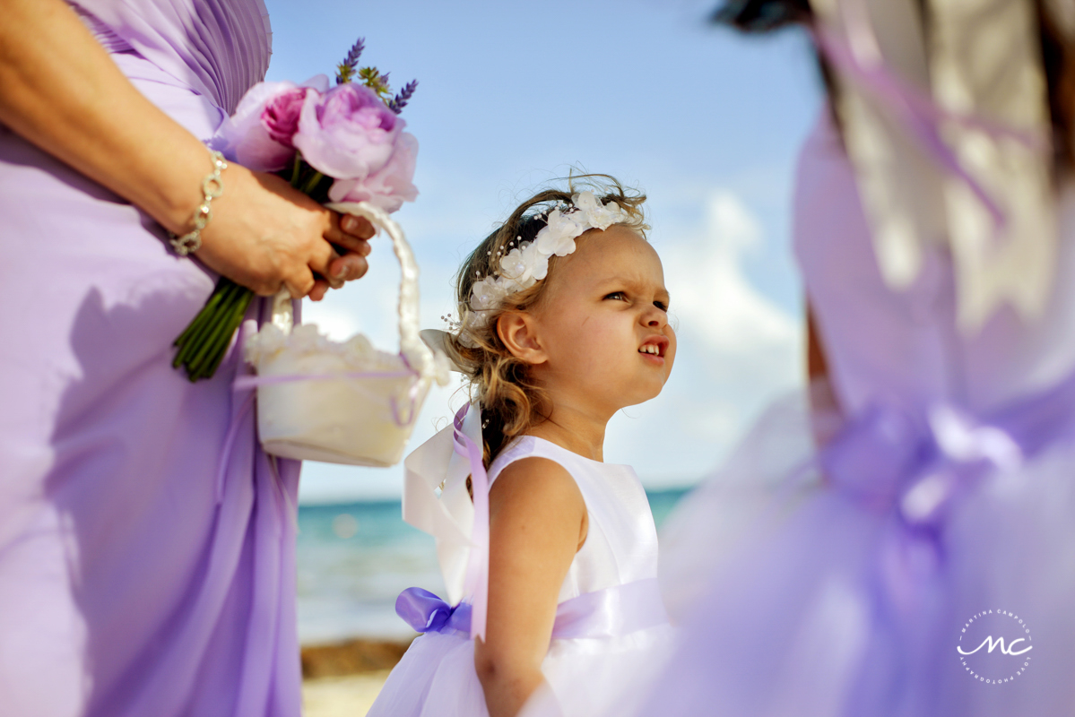 Cute flower girl at Now Sapphire Riviera Cancun wedding, Mexico. Martina Campolo Photography