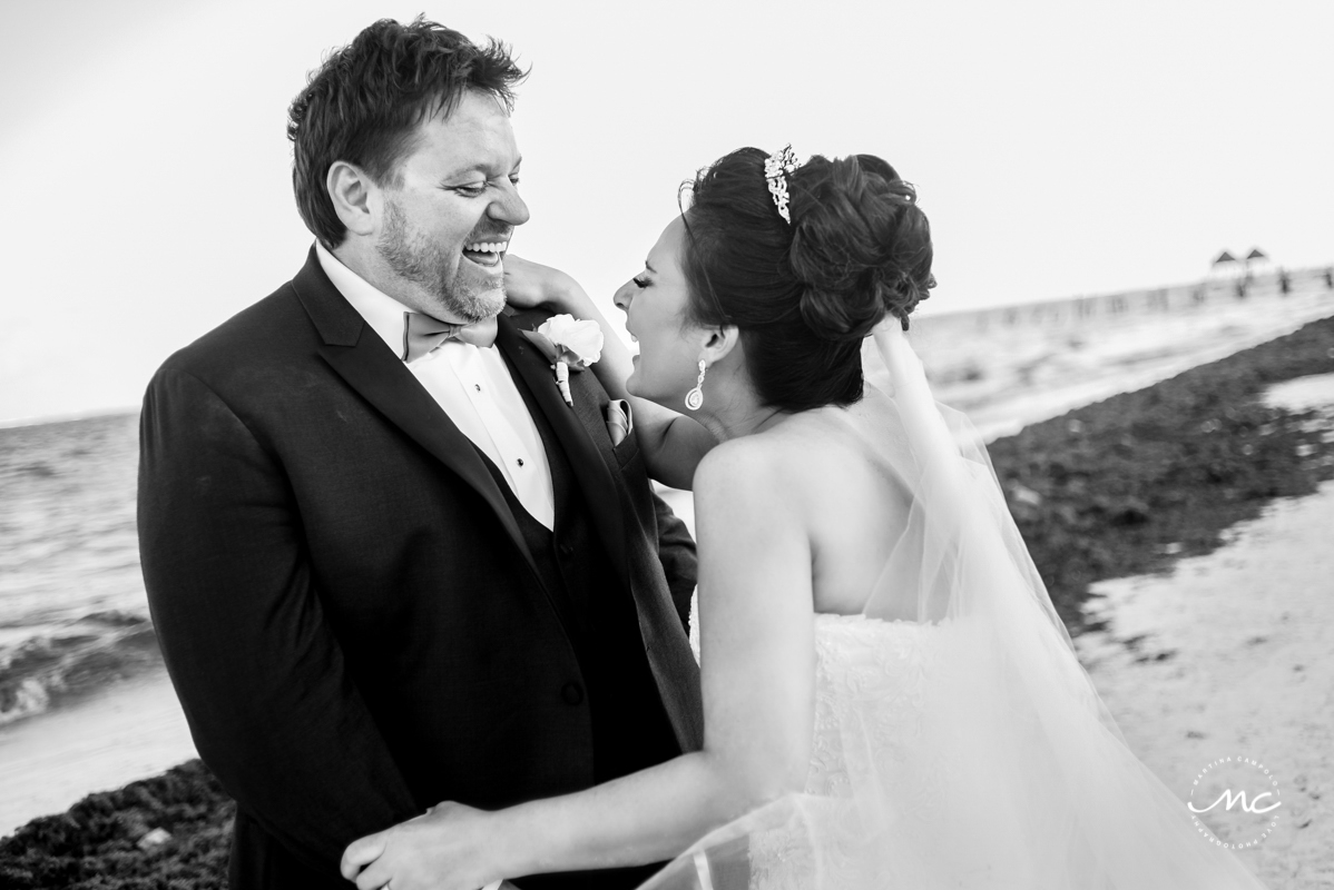 Black and white bride and groom portraits at Now Sapphire Riviera Cancun, Mexico. Martina Campolo Photography