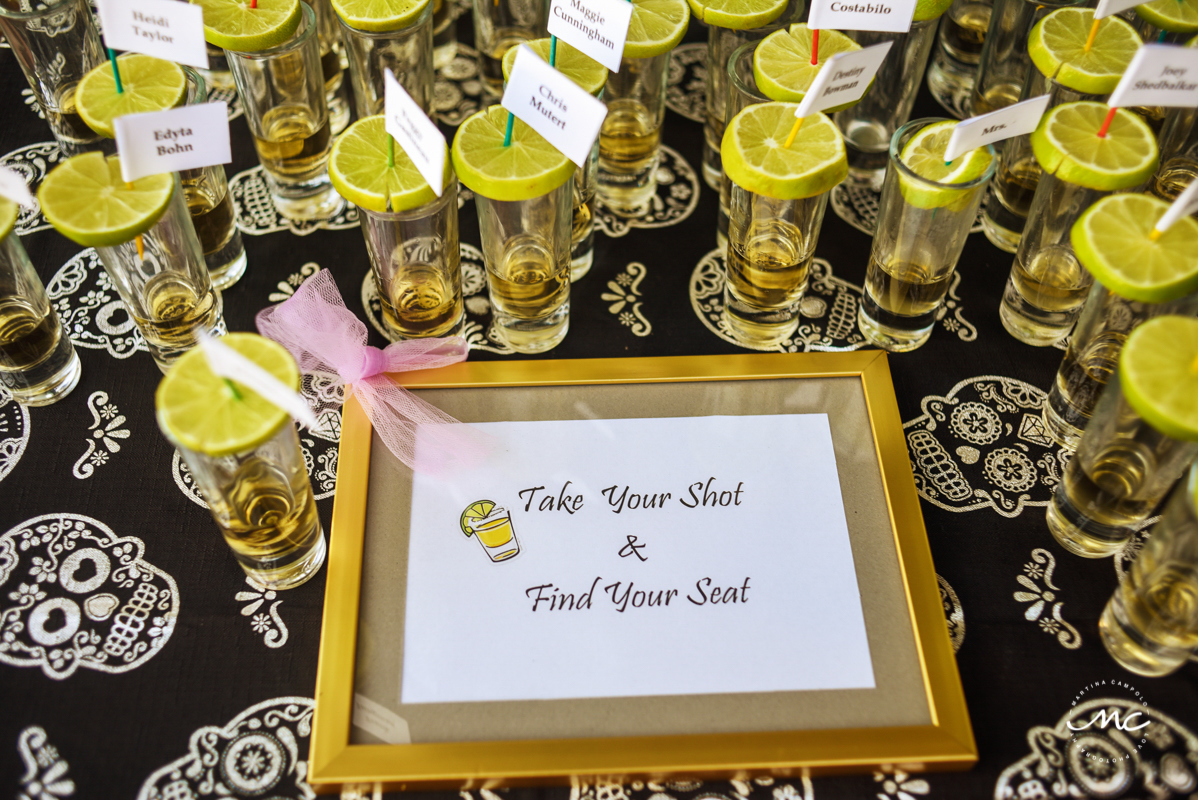 Tequila shot seating cards. Martina Campolo, Now Sapphire Riviera Cancun Wedding Photographer
