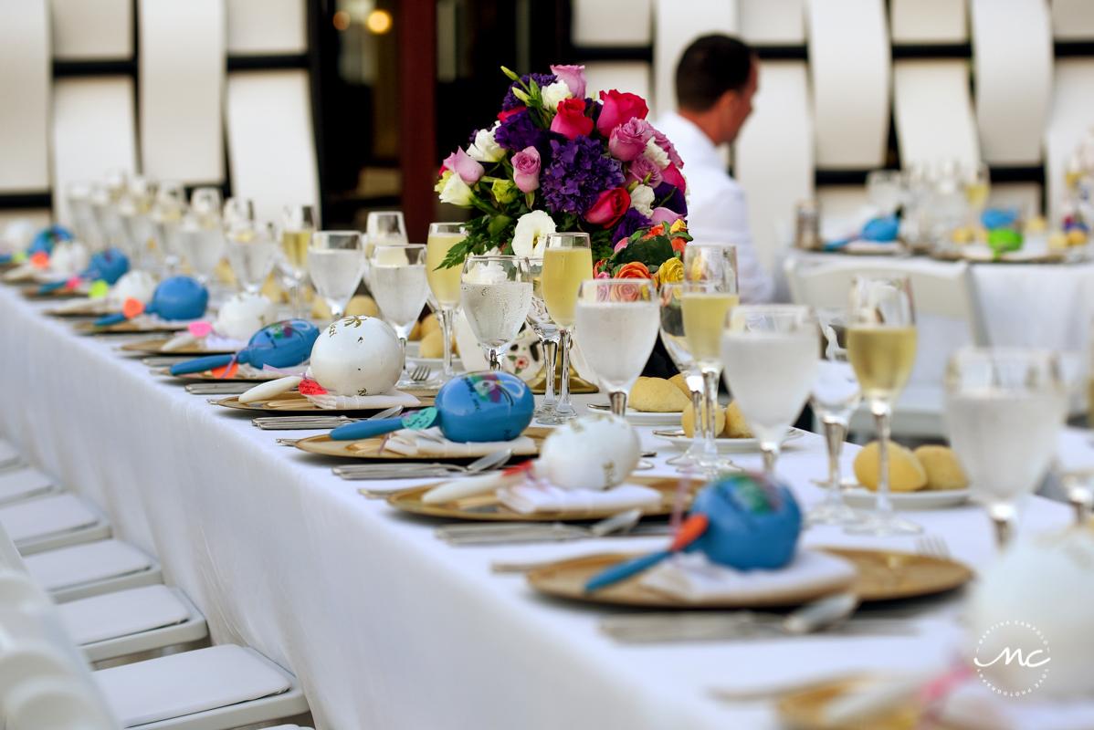Wedding reception table decor with blue maracas. Now Sapphire destination wedding by Martina Campolo Photography