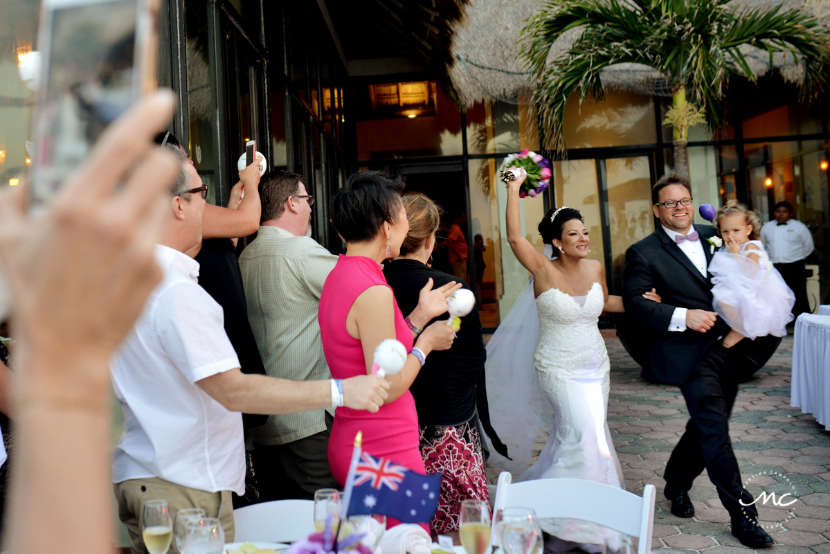 Bride and groom reception entrance at Now Sapphire Riviera Cancun. Martina Campolo Photography