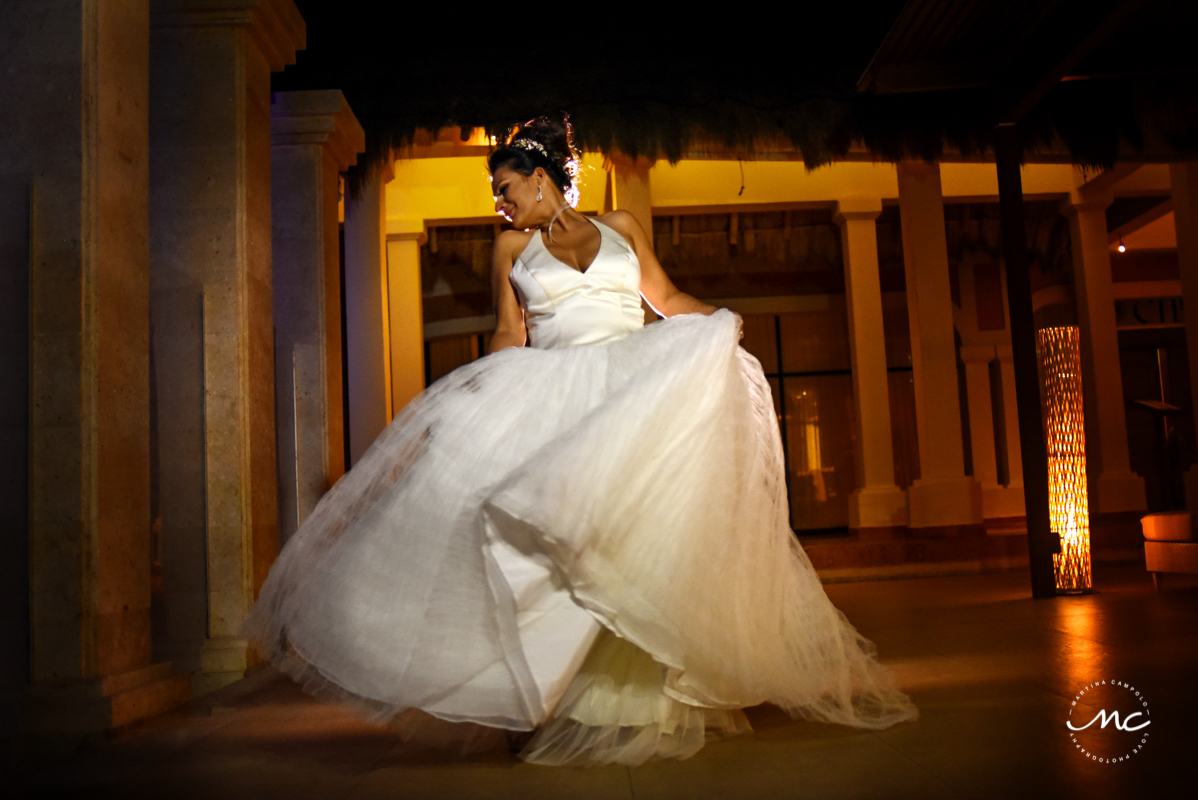 Destination bridal portrait at night. Now Sapphire Wedding by Martina Campolo Photography