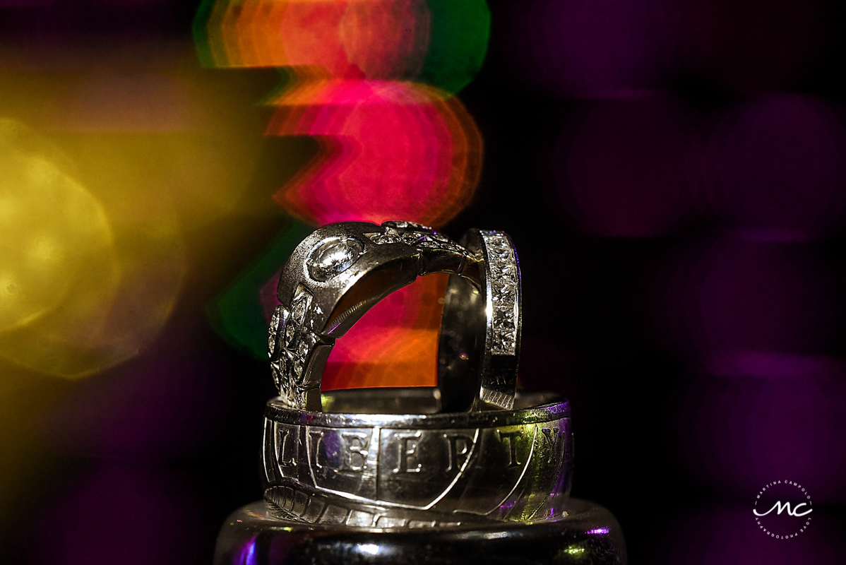 Wedding rings by Martina Campolo Photography at Now Sapphire Riviera Cancun wedding