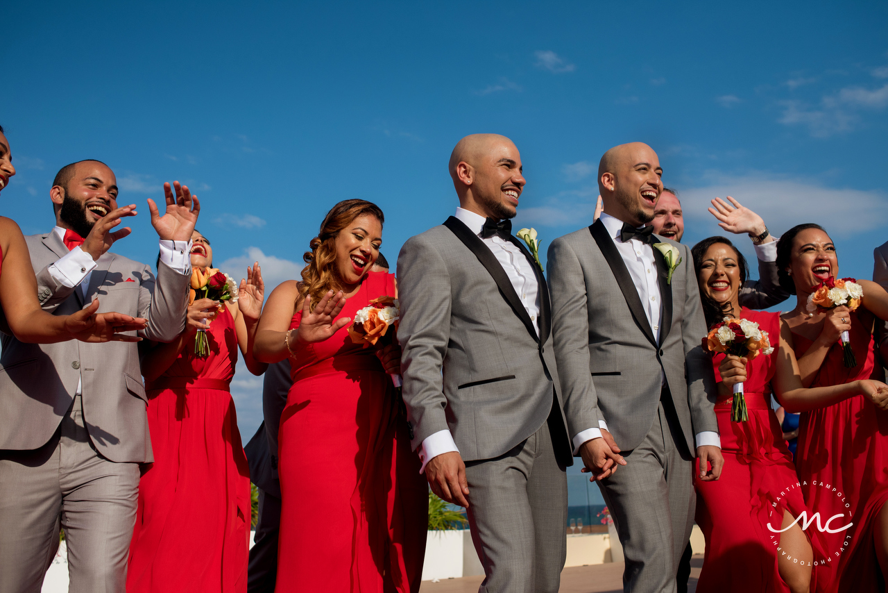 Bridal Party. Gay Destination Wedding at Royalton Riviera Cancun. Martina Campolo Photography