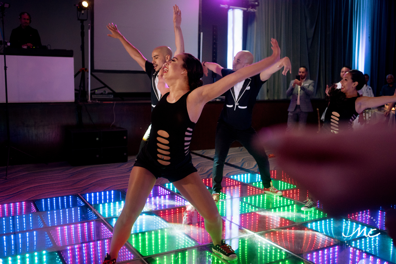Royalton Riviera Cancun LGBTQ Wedding, night show. Martina Campolo Photography