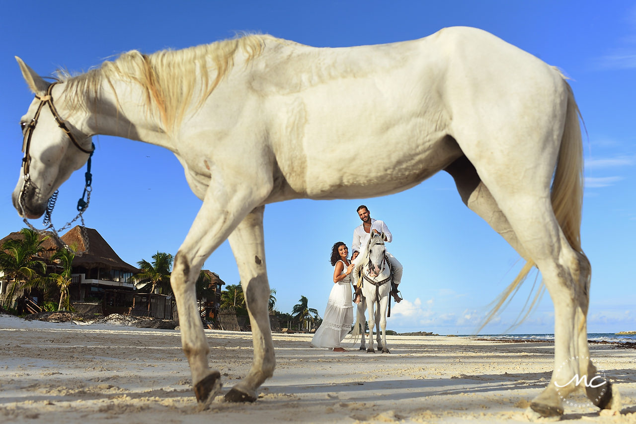 Tago Tulum wedding anniversary photoshoot with white horses by Martina Campolo Photography