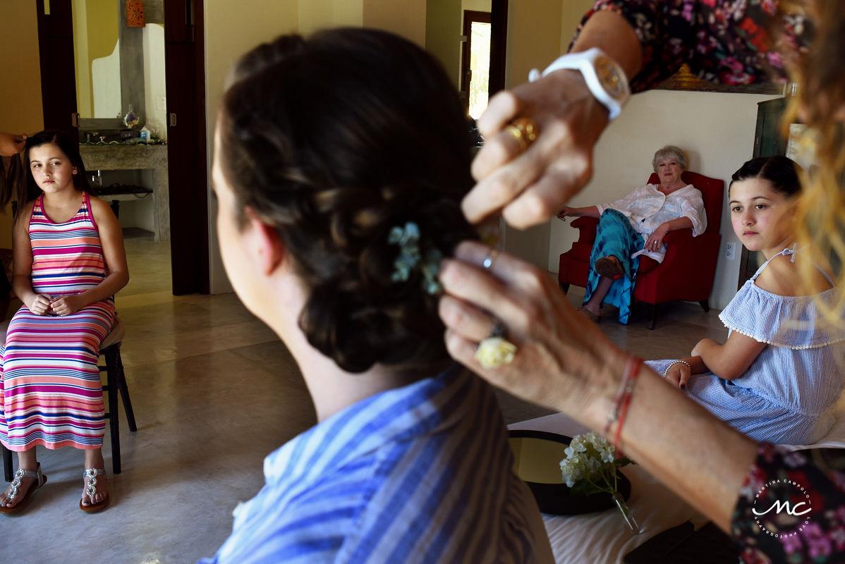 Bride getting hair done by Doranna Hairstylist. Martina Campolo Destination Wedding Photography in Puerto Aventuras, Mexico