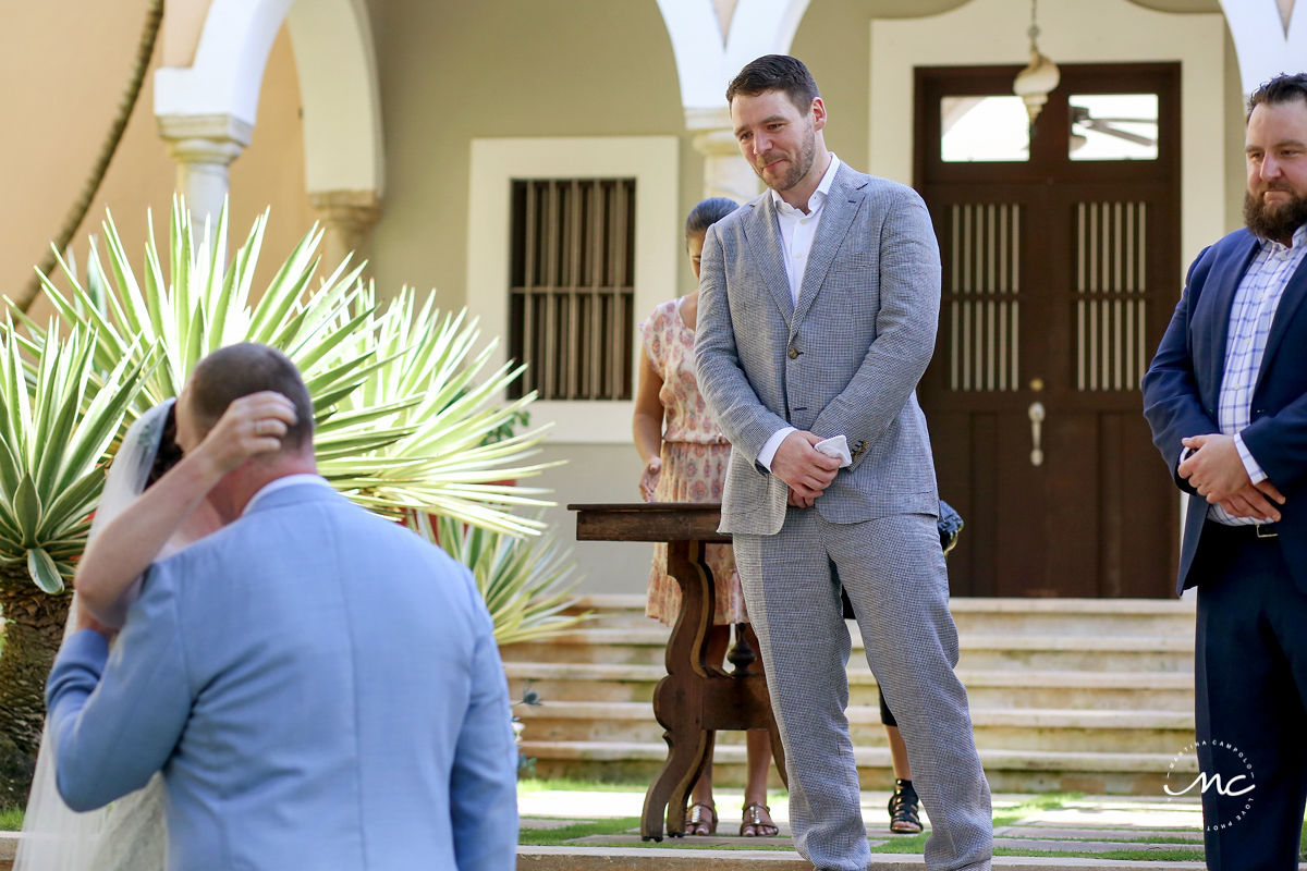 Groom waiting for this bride at Hacienda del Mar wedding in Mexico by Martina Campolo Photography