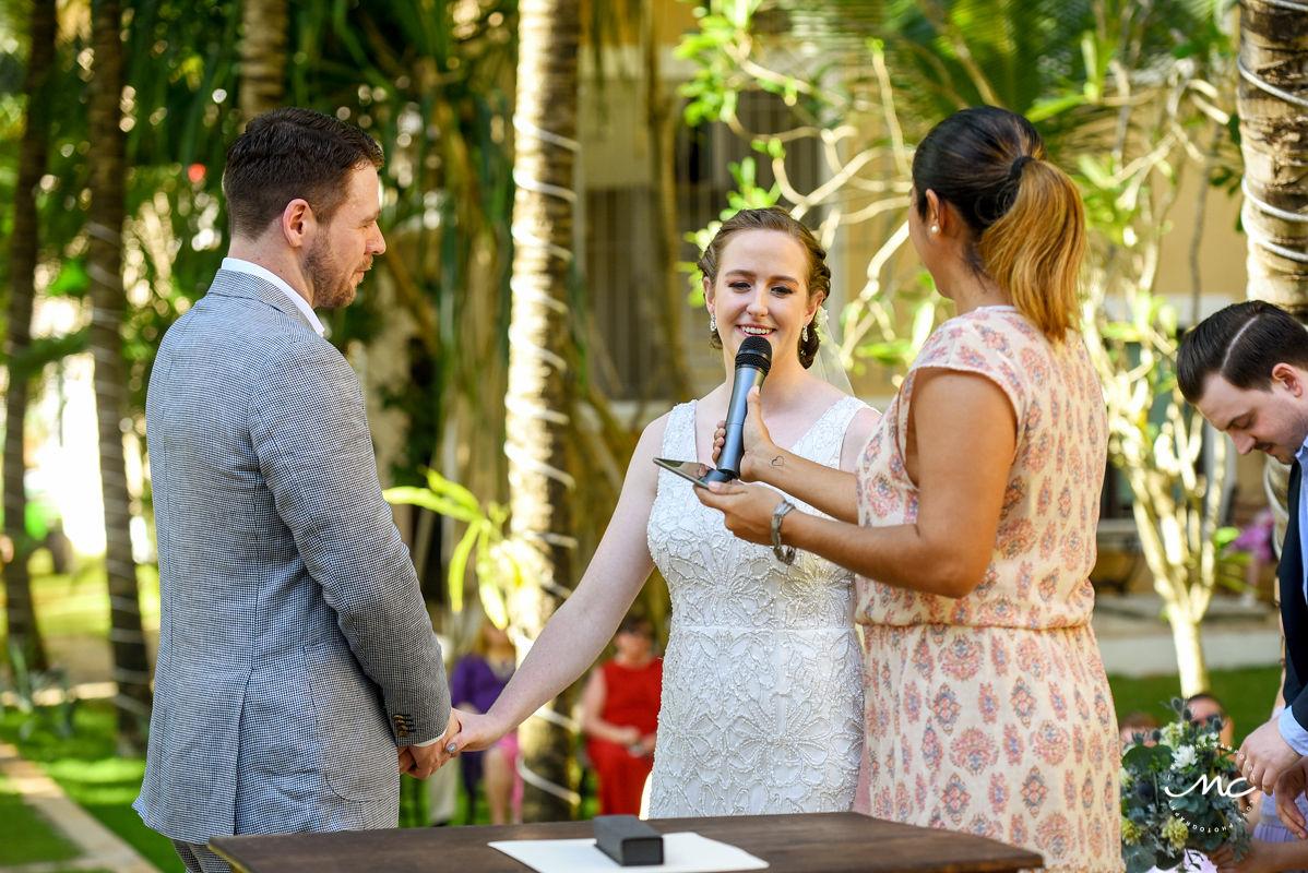 Wedding ceremony moment at Hacienda del Mar, Mexico. Martina Campolo Riviera Maya Wedding Photography